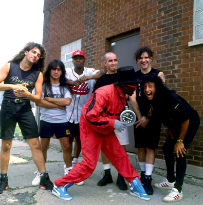 Anthrax and Public Enemy at a video shoot on 6/15/91  in Chicago, Il. (Paul Natkin/Image Direct)